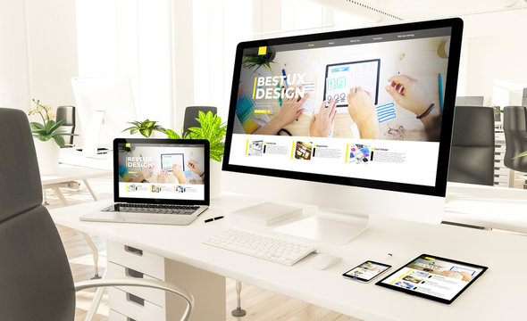 responsive devices with ux design website in loft office mockup