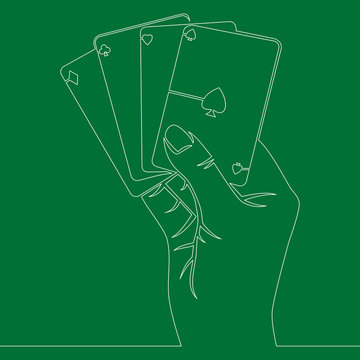 Continuous line Hand with ace playing cards