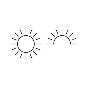 Sun and half sun for sunrise line icon, outline vector, linear style pictogram, Sunny weather symbol, logo illustration. Editable stroke. Vector illustration isolated on white background.