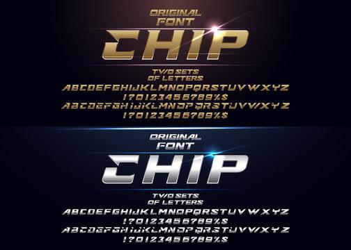 """Chip"" Futuristic vector Font design."