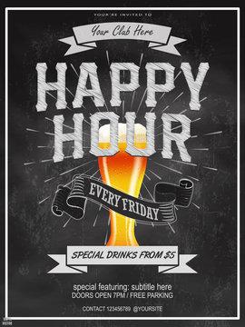Elegant Happy Hours flyer, banner or template design with beer glass on chalkboard background. Vintage concept background, art template, retro elements, logo, labels, layout, badge, old banner, card