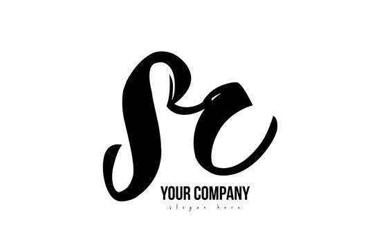 black and white sc s c alphabet letter combination logo icon design