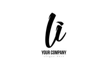 Fototapeta black and white li l i alphabet letter combination logo icon design obraz