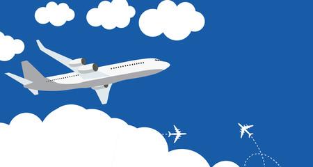 Fototapeta Flat airplane icon on blue background. Vector Illustration obraz