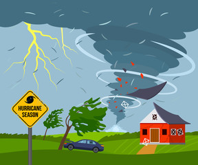 A devastating tornado destroys a house, a roof flies away, trees break. bad weather landscape and a sign of disaster and warning.