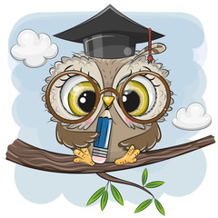 Canvas Prints Owls cartoon Clever owl with pencil and in graduation cap