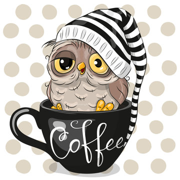 Cartoon owl is sitting in a Cup of coffee