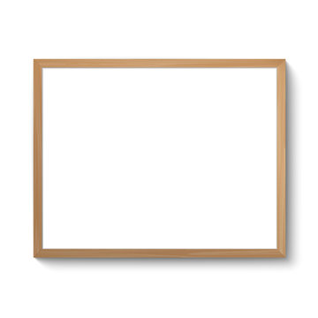 Wooden frame template. Realistic photo frame isolated on white.