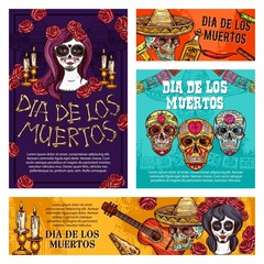 Day of Dead mexican holiday skulls and skeletons