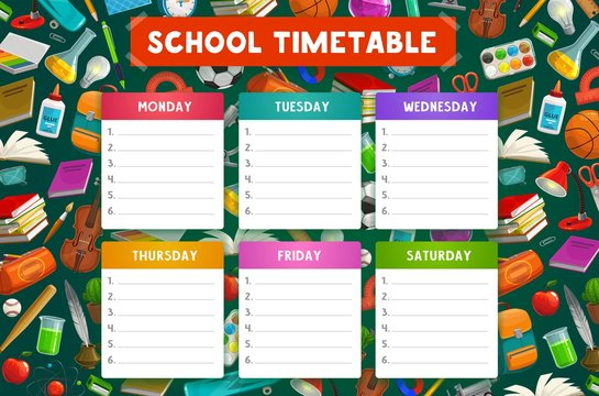 School timetable, student book, notebook, pencil