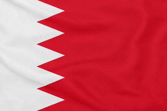 Textured fabric with flag of Bahrain. Patriotic symbol