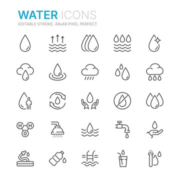 Collection of water related line icons. 48x48 Pixel Perfect. Editable stroke