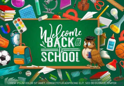Inscription on blackboard welcome back to school