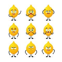 Doodle Cartoon Character: Lemon. Vector Set