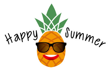 Illustration of a pineapple character with sunglasses Happy summer | Summer image, a postcard for the summer greeting