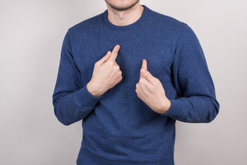 Cropped close-up picture photo portrait of unsure uncertain terrified having problem guy pointing on himself isolated grey background