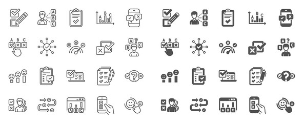 Survey, Report review line icons. Opinion, Customer satisfaction feedback and Test icons. Checklist review, Quiz and Business report symbols. Evaluation quiz, Feedback chart, Management. Vector Wall mural