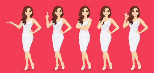 Smiling beatiful woman with curly hairstyle in dress set with different gestures isolated vector illustration