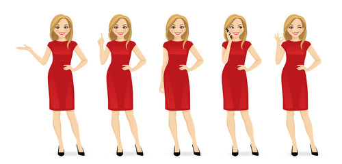 Young beautiful woman in red dress set with different gestures isolated vector illustration