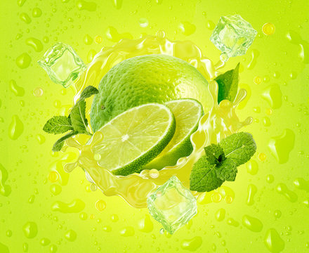 Fresh ripe lime, lime slice, mint, ice and juice splash wave on drops background. Tropical juicy lime fruit juice ice drink splashing label for juice, mojito cocktail, smoothie ad. 3D