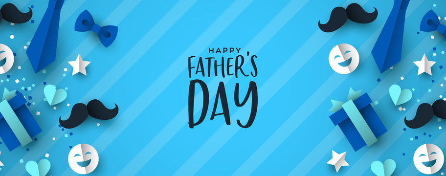 Fathers Day banner of paper icons for dad holiday