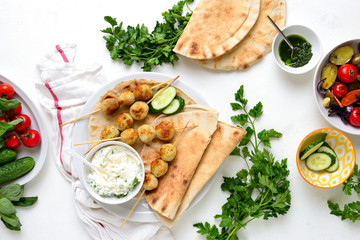 Greek turkey meatballs with pita and tzatziki