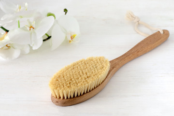 Wooden brush for dry brushing massage