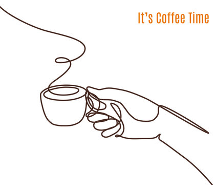 Vector coffee illustration drawn with one line. Hand with a cup of coffee.