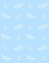 Vector seamless pattern of flat cartoon white line paper boat and anchor isolated on pastel blue background