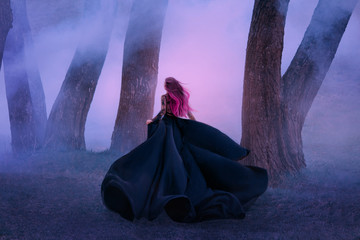 The queen in black dress, runs away in the fog. The skirt train is waving in the wind like a black flower. Pink long hair fly. A vampire is hunting at dusk. Art photo from the back, without a face