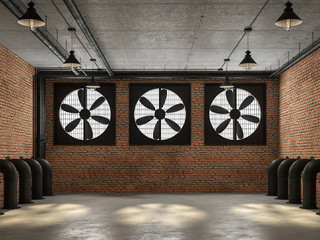 Empty loft room 3d render,There are orange brick wall. With concrete floor and ceiling The wall has a large black ventilation fan. At the ceiling, there are plumbing pipes and wires.