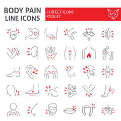 Body pain thin line icon set, organs ache symbols collection, vector sketches, logo illustrations, sickness signs linear pictograms package isolated on white background.