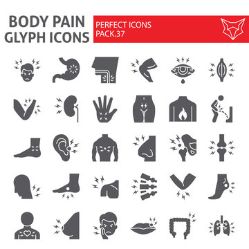 Body pain glyph icon set, organs ache symbols collection, vector sketches, logo illustrations, sickness signs solid pictograms package isolated on white background.