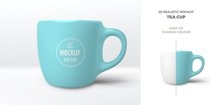 Vector 3D realistic mockup of ceramic blue coffee mug. Template with porcelain cup of tea for design of branding identity. Easy to change colour.  Isolated from the background.