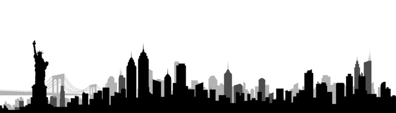 New York City Skyline Silhouette Vector Illustration