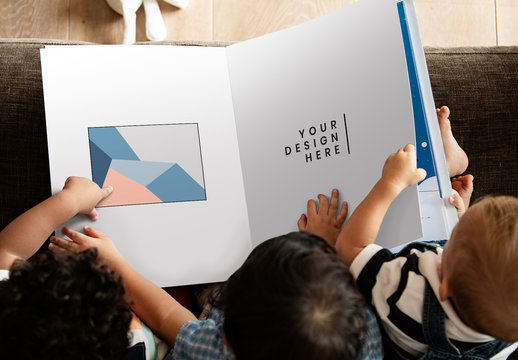 Kids Reading a Book Mockup