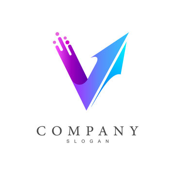 logo letter v, arrow logo that shot up,  delivery service icon, fast and timely