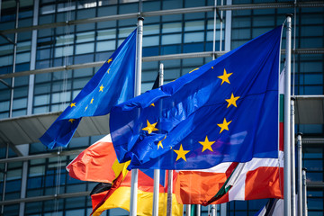 Close-up flags of all member states of the European Union waving in calm wind in front of the Parliament headquarter on the day of 2019 European Parliament election.