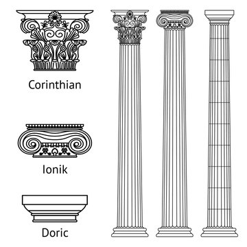 A set of antique Greek historical columns and capitals for them: the Ionic, Doric and Corinthian capitals