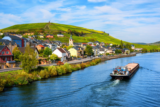 Vineyards on Moselle river in Wormeldange, Luxembourg country