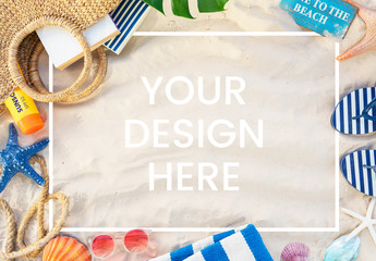 Summer Beach Flat Lay Mockup
