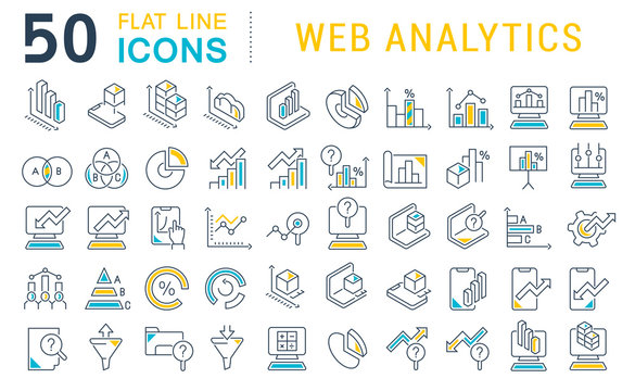 Set Vector Line Icons of Web Analytics
