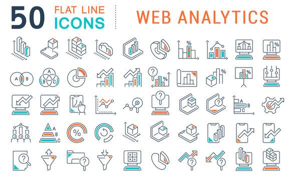 Set Vector Line Icons of Web Analytics