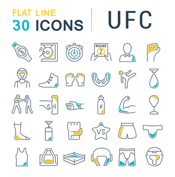 Set Vector Line Icons of UFC