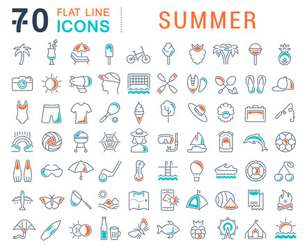 Set Vector Line Icons of Summer
