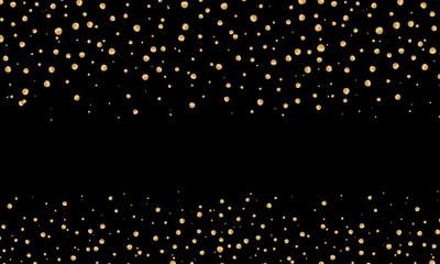 Celebration. Vector gold serpentine and confetti on black background.