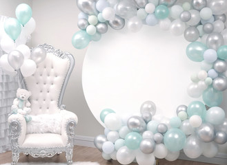 Beautiful decoration armchair and balloons for a baby shower party.
