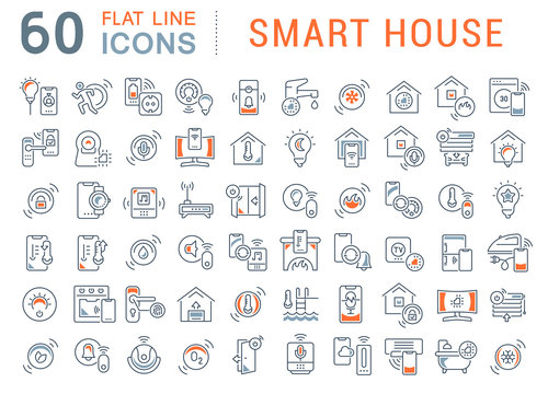 Set Vector Line Icons of Smart House