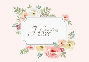 Vintage Flower Paper Card Design Mockup