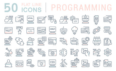 Set Vector Line Icons of Programming